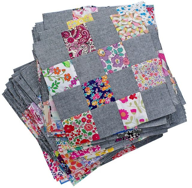 liberty and chambray patchwork blocks red pepper quilts Quilt Patchwork Blocks